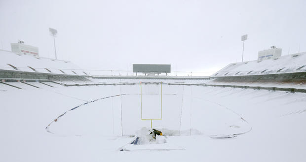 A general view of the football field and seating area of Ralph Wilson Stadium, home of the Buffalo Bills, after a major snowstorm hit the area.