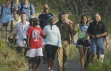 Obama, Malia and friends go for a hike in Hawaii