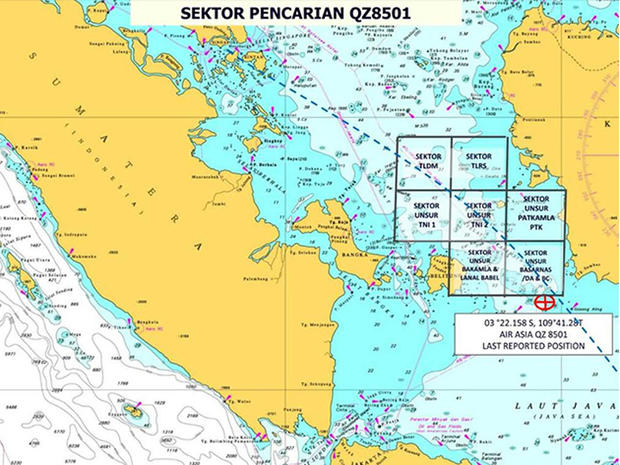 Map shows the seven search zones for missing AirAsia Flight 8501