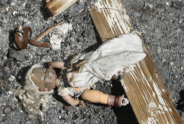 A doll found in the rubble