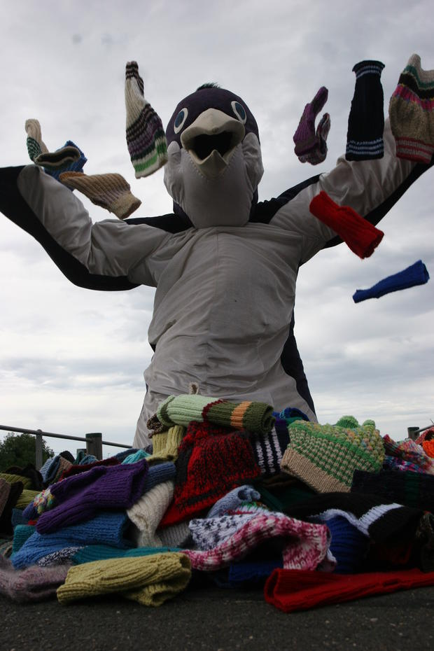 The group says they have more than enough sweaters. One was even knit by Australia's oldest man.