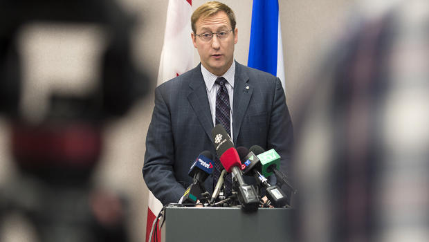 Justice Minister Peter MacKay addresses a news conference in Halifax, Canada, Feb. 14, 2015, on an alleged plot to attack a public place in Halifax.