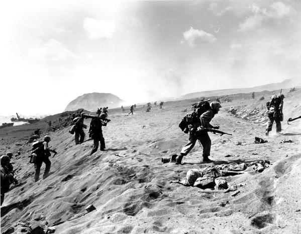 Image result for u.s. marines begin landing on iwo jima