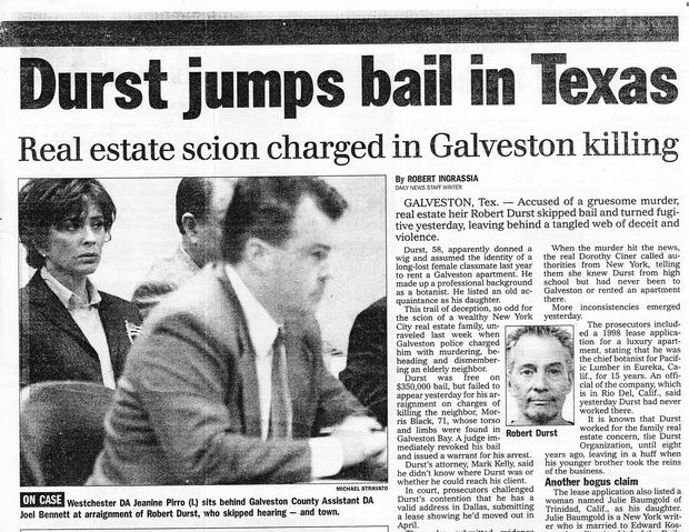 "Newspaper headline: ""Durst jumps bail in Texas"""