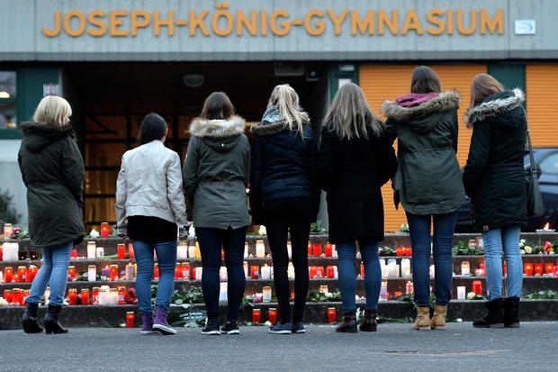 Students and well wishers gather in front of Joseph-Koenig-Gymnasium secondary school in Haltern am See, Germany on March 24, 2015; several of the Germanwings plane crash victims were students there