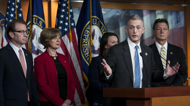 Chairman Trey Gowdy, R-South Carolina, and other members of the House Select Committee on Benghazi speak to reporters at a press conference on the findings of former Secretary of State Hillary Clinton's personal emails at the U.S. Capitol March 3, 2015 in