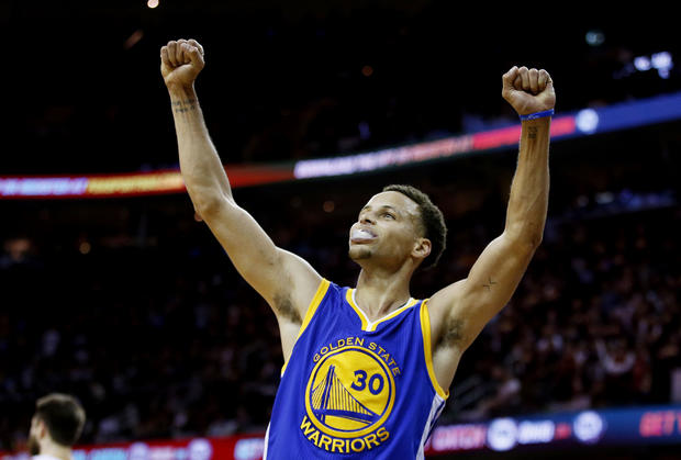 Stephen Curry, No. 30 of the Golden State Warriors, celebrates after they defeated the Cleveland Cavaliers 105 to 97 in Game Six of the 2015 NBA Finals at Quicken Loans Arena June 16, 2015, in Cleveland, Ohio.