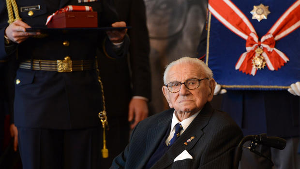 Britain's Sir Nicholas Winton receives the Order of the White Lion, the Czech Republic's top honor, at Prague Castle Oct. 28, 2014.