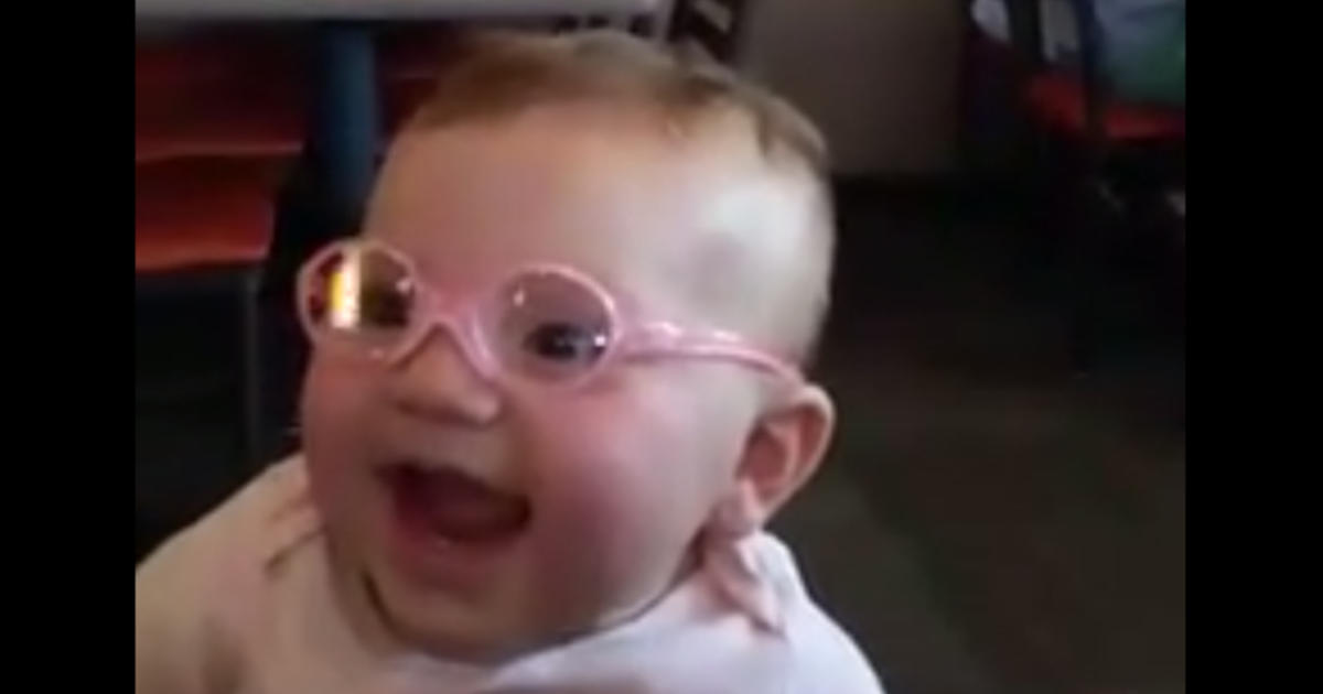 Adorable viral video shows baby seeing clearly for the