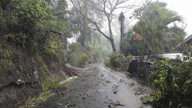 Debris covers road after heavy rains from Tropical Storm Erika on Caribbean island of Dominica in this picture from Robert Tonge, Dominican Minister for Tourism and Urban Renewal, taken August 27, 2015