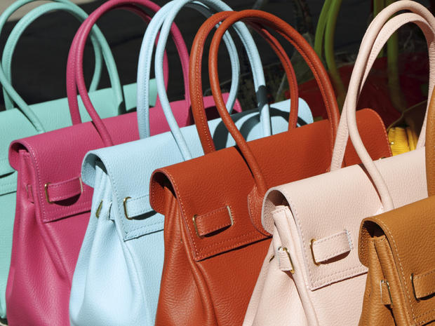 colorful leather handbags collection on florentine market, Florence, Italy, Europe