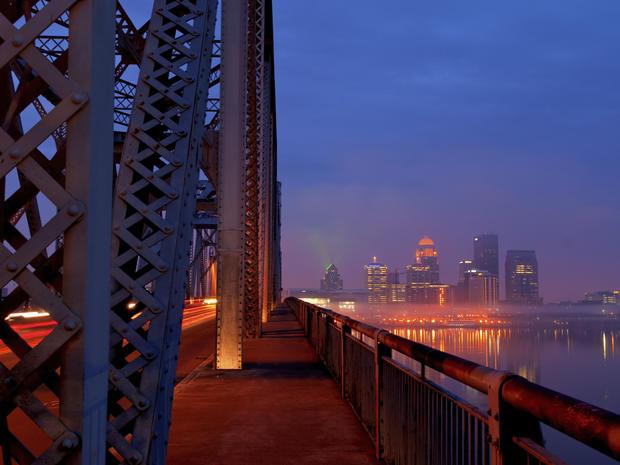 Rush Hour in Louisville, Kentucky Skyline at Sunrise
