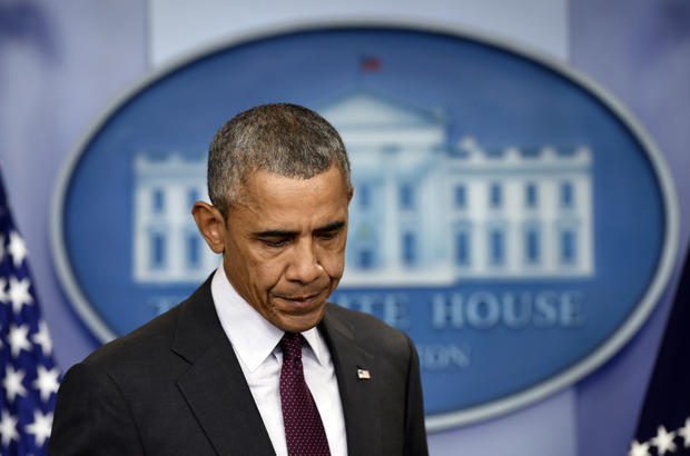 """President Obama delivers a statement about the deadly shooting at Umpqua Community College in which he said, """"Our thoughts and prayers are not enough,"""" at the White House in Washington, D.C., Oct. 1, 2015."""