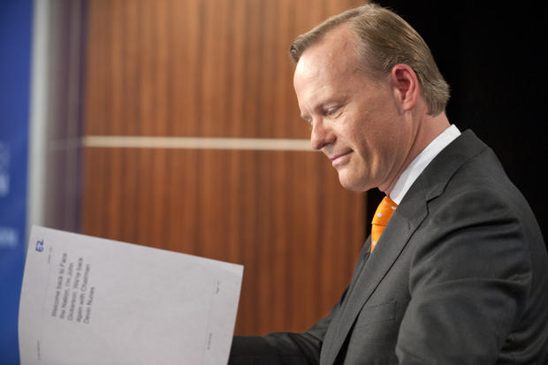 """Democratic debate moderator John Dickerson on the set of CBS' """"Face the Nation."""""""