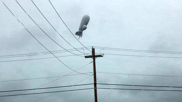 A U.S. Army surveillance blimp is seen above Pennsylvania after detaching from its mooring Oct. 28, 2015.