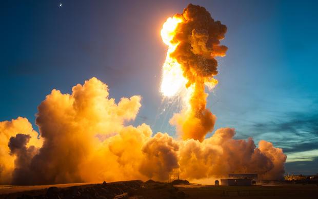 Massive rocket explosion