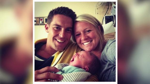 Davey and Amanda Blackburn with their son.