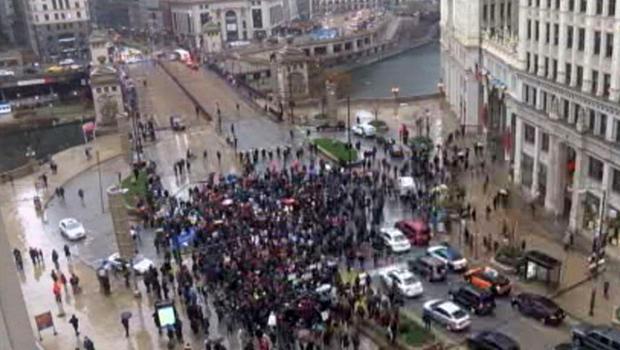 Protesters shut down part of Michigan Avenue in Chicago Nov. 27, 2015.