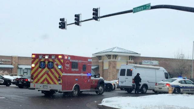 Crews respond to an active shooter situation at a Planned Parenthood facility in Colorado Springs, Colorado, Nov. 27, 2015.