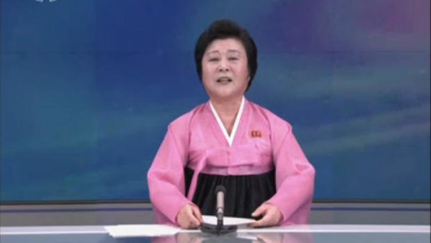 In this image from the North Korean state broadcaster, news anchorwoman Ri Chun-hee announces the country's purported first test of a hydrogen bomb
