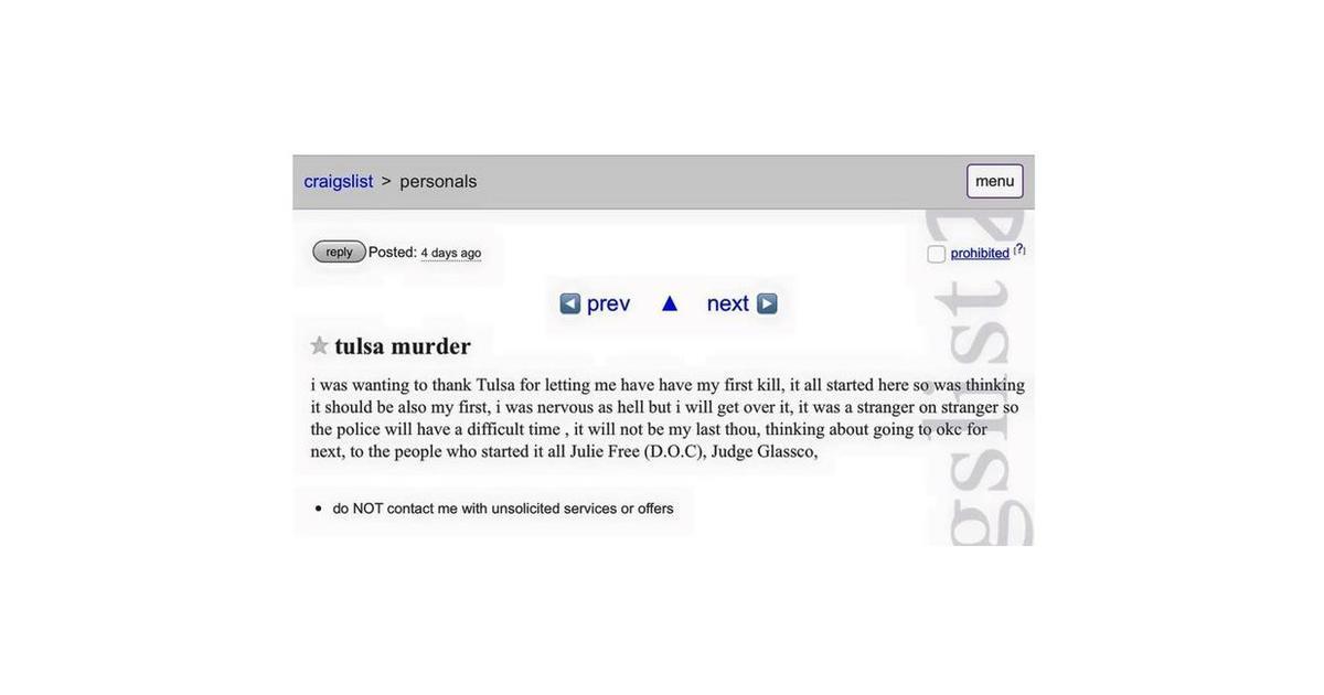 Tulsa oklahoma police probe craigslist posting bragging for Craigslist com okc