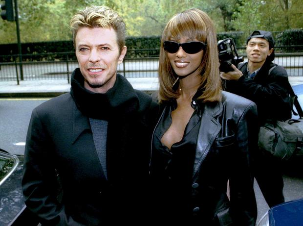 David Bowie and wife Iman in November 7, 1995 file photo