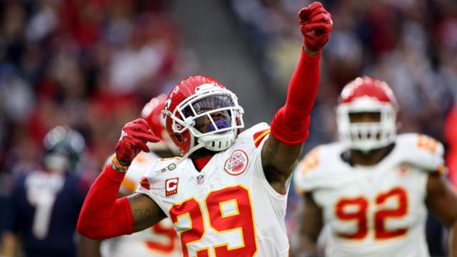 Kansas City Chiefs free safety Eric Berry, No. 29, reacts after intercepting a pass against the Houston Texans during the first quarter in a AFC Wild Card playoff football game at NRG Stadium in Houston Jan. 9, 2016.