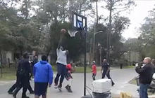 Shaq plays street ball with kids in Florida