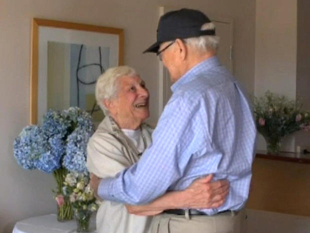 Joyce Morris and Norwood Thomas after being reunited after 70 years in Australia