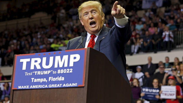 Republican presidential candidate Donald Trump speaks during a campaign stop in Tampa, Florida, Feb. 12, 2016.
