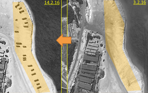 Satellite images from early Feb. 2, 2016, left, and another of the same part of Woody Island in the South China Sea taken on Feb. 14, 2016, show the appearance of anti-aircraft missile units on the beach