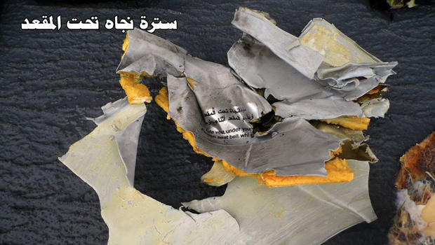 Debris recovered from the search for EgyptAir Flight 804 is seen in this photo posted to an Egyptian military Facebook page May 21, 2016.