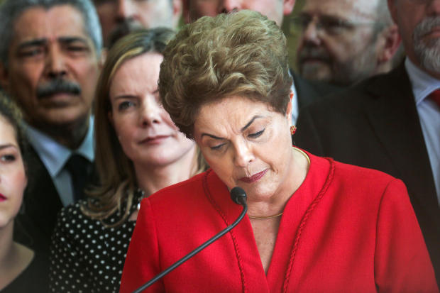 Impeached President Dilma Rousseff delivers her farewell address in Alvorado Palace on Aug. 31, 2016, in Brasilia, Brazil.