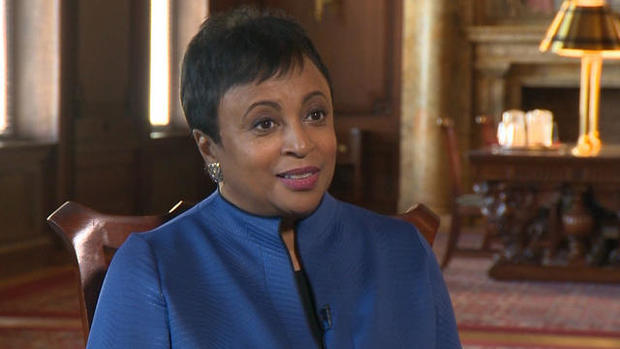 Librarian of Congress Carla Hayden speaks to CBS News during an interview after her swearing-in ceremony at the Library of Congress in Washington on Sept. 14, 2016.