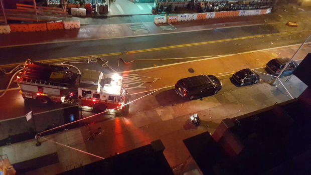 Authorities roped off an area outside an apartment building after an apparent explosion in the Chelsea neighborhood of Manhattan on Sept. 17, 2016.