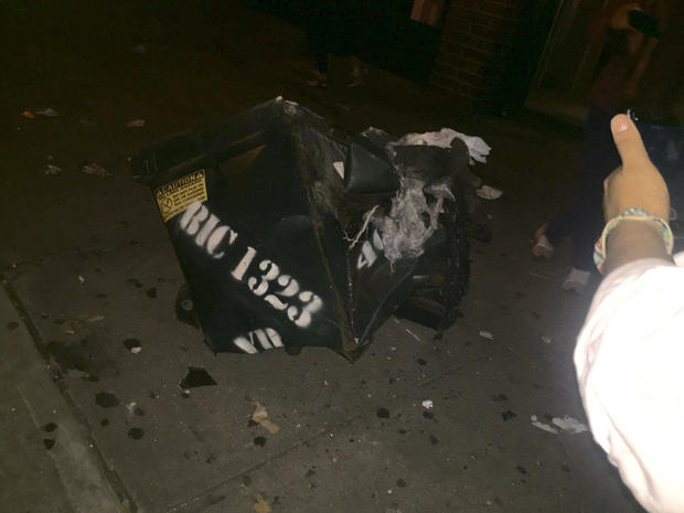A trash dumpster was apparently damaged in an explosion in the Manhattan borough of New York on Sept. 17, 2016.