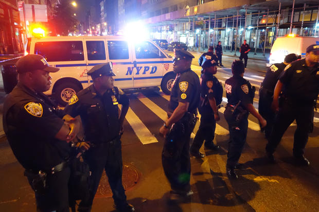 Police block a road after an explosion in New York on Sept. 17, 2016. An explosion in New York's Chelsea neighborhood injured multiple people, police said.