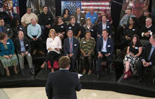 Undecided voters speak to Frank Luntz during focus group