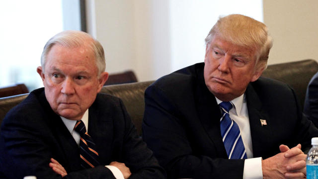 Donald Trump sits with U.S. Sen. Jeff Sessions, R-Alabama, at Trump Tower in Manhattan, New York, Oct. 7, 2016.