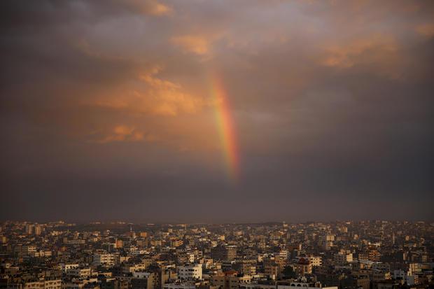 A rainbow shines in the sky above Beit Lahiya City, Gaza Strip, following a rainstorm Dec. 8, 2016.