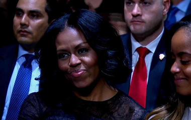 President Obama tears up praising Michelle's grit, grace and style