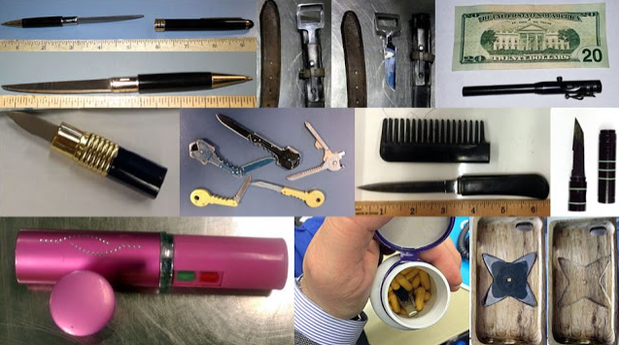 Weapons discovered at TSA checkpoints in 2016