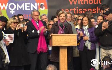Watch: Elizabeth Warren addresses Women's March on Boston