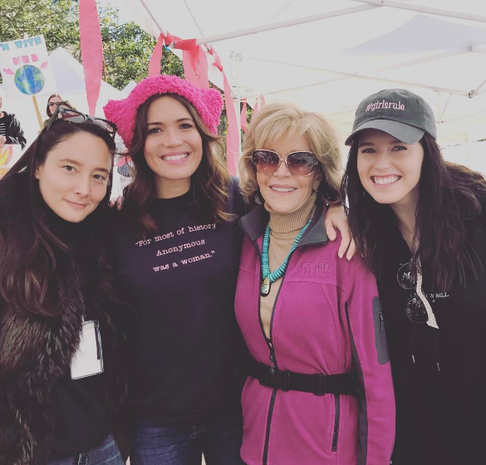Celebrities attend Women's Marches around the world