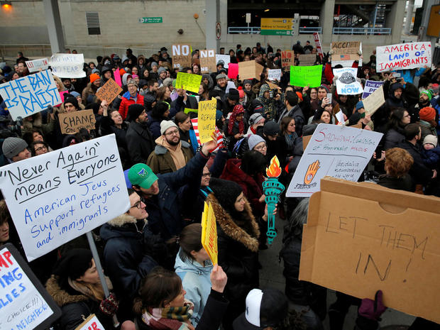Protesters slam Trump immigration ban