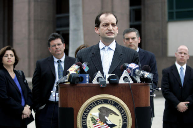 R. Alexander Acosta, U.S. attorney for the Southern District of Florida, speaks to the media on Feb. 27, 2007, in Miami, Florida.