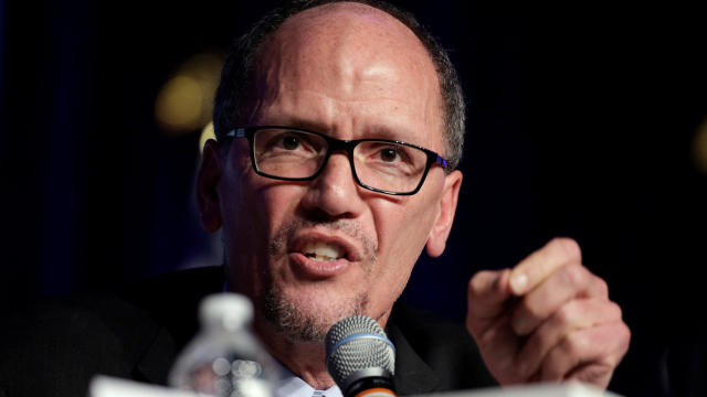 Former Secretary of Labor Tom Perez, a candidate for Democratic National Committee chairman, speaks during a Democratic National Committee forum in Baltimore, Maryland, Feb. 11, 2017.