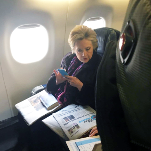 Hillary Clinton on a plane