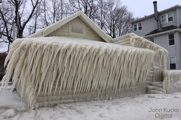 this house in upstate new york is completely encased in ice cbs news - House