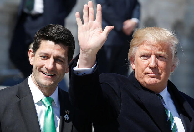 President Trump waves with House Speaker Paul Ryan, R-Wisconsin, after attending a Friends of Ireland reception on Capitol Hill in Washington March 16, 2017.